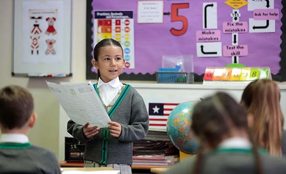 Prince's Gardens pupil speaking in class
