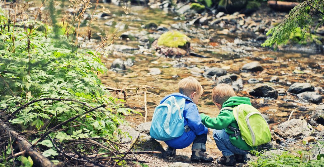 Little hikers at the stream